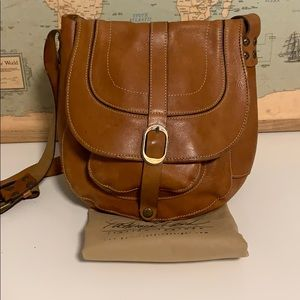 Genuine Leather Saddle Bag (Brown-Patricia Nash)